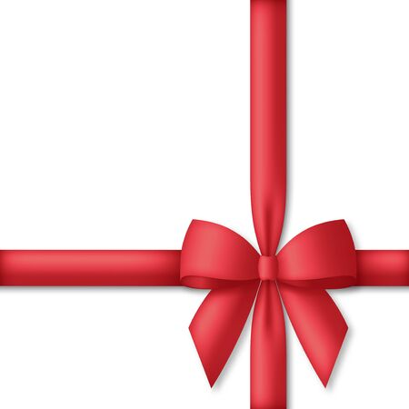Decorative red bow with ribbons. Gift box wrapping and holiday decoration. Vector illustration