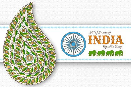 26th of January India Republic Day. Greeting card with arabesque floral pattern. Paisley and Mandala. Vector illustration.