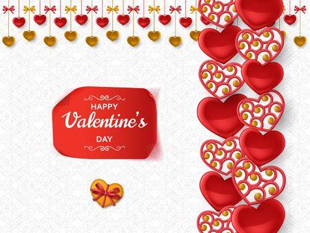 Fondo de feliz día de San Valentín con corazones brillantes. Tarjeta de felicitación y plantilla de amor. Ilustración vectorial. Ilustración de vector