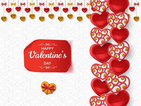 Happy Valentine Day background with glossy hearts. Greeting card and Love template. Vector illustration. Vetores