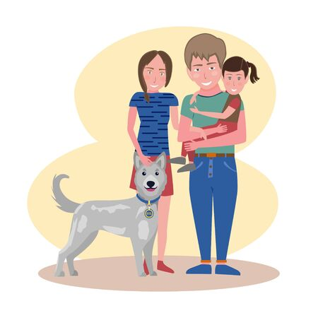 Happy smiling family. Mother, father, daughter and their dog. Vector illustration.