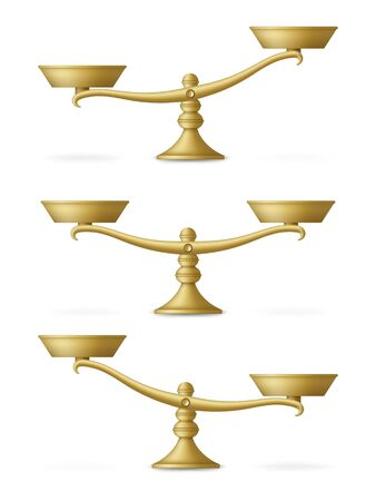 Realistic golden scales set with different balances. Vector illustration.