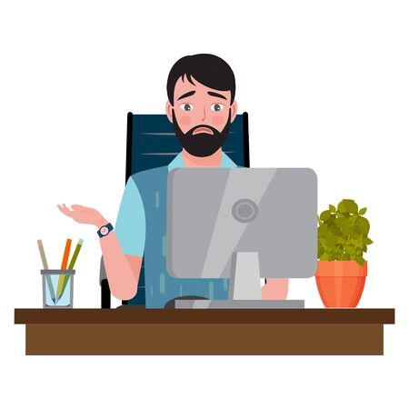 Upset man sitting on an office chair at a computer desk and looking at the monitor. Vector illustration.