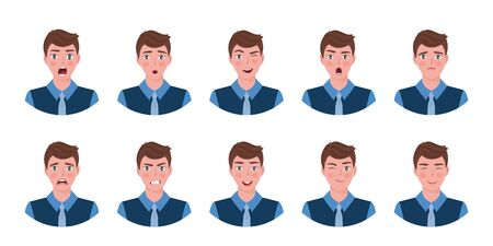 Attractive boy showing different facial expressions