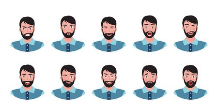 Attractive boy with beard showing different facial expressions. Vector illustration. 向量圖像