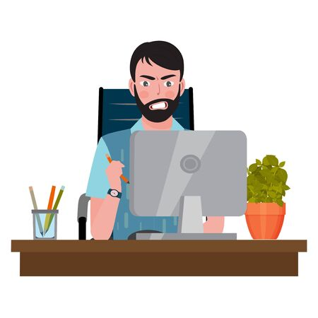 Angry man sitting on an office chair at a computer desk and looking at the monitor. Vector illustration. Vector Illustration
