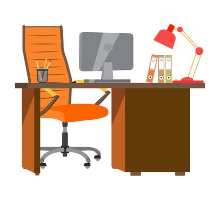 Workplace in office with table, computer, chair and lamp. Vector illustration. Illustration