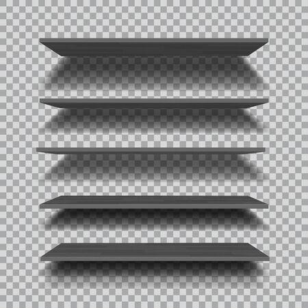 Empty black shelves isolated on checkered background. Vector illustration. 일러스트