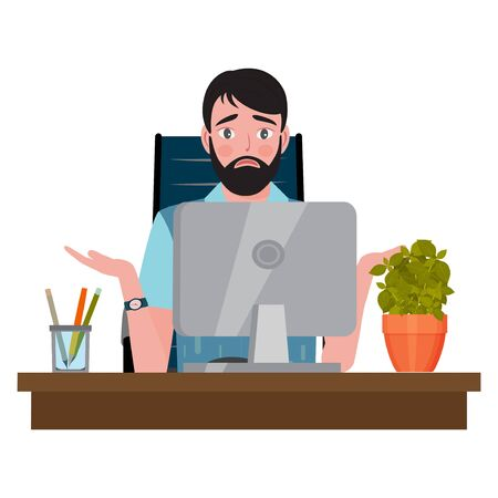 Confused man sitting on an office chair at a computer desk and looking at the monitor. Vector illustration.