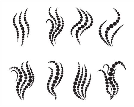Set of smoke steam icons made of round dots. Aroma smell signs. Vector illustration.