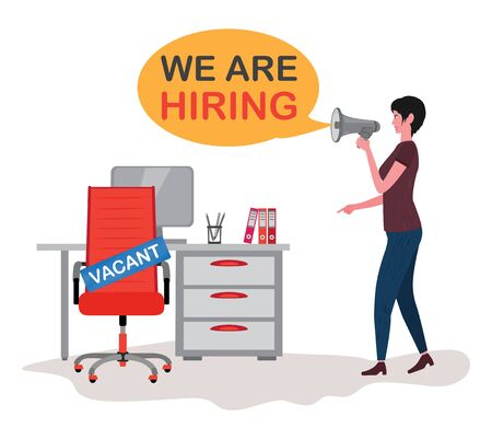 Woman with a megaphone is looking for workers. Red office chair with sign vacant on the background with computer table. Hiring job, recruiting or vacancy concept. Speech bubble with text We are hiring.