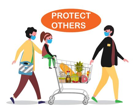 Family doing shopping in Supermarket with shopping cart. Father, mother and child. Everybody in medical protective masks