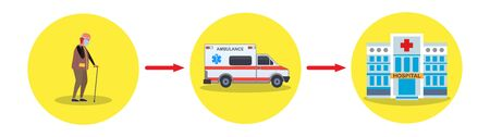 A sick elderly man reports to Ambulance that he needs hospitalization. Vector illustration.
