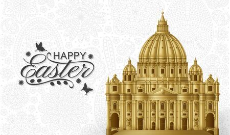 Easter background with Saint Peters Basilica. Golden vector illustration.