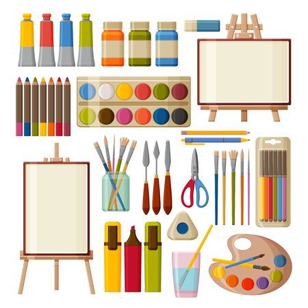 Paint art tools set. Watercolor, gouache oil and acrylic paints. Felt-tip pens, colored pencils and brushes for painting. Table and floor easels. Vector illustration.