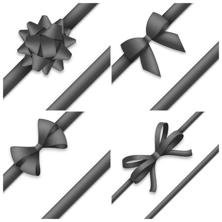 Collection of decorative black bows. Funeral procession decor isolated on white background.  illustration