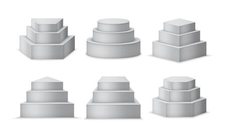 Pedestals set. 3d realistic podiums or stands. Different geometric shapes such as cube, prism or cylinder.  illustration.