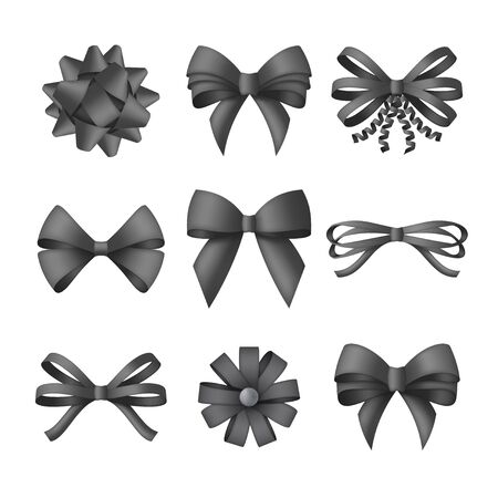 Collection of decorative black bows. Funeral procession decor isolated on white background. illustration Illustration