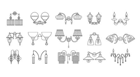 Wall lamps line icons set Banque d'images - 146258205