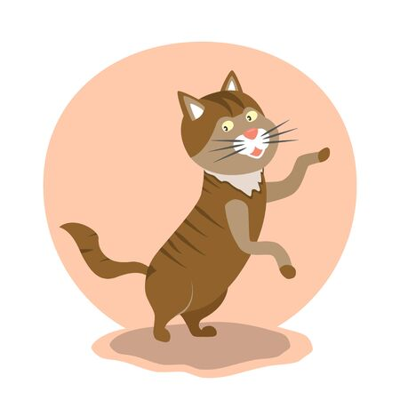 Cute fat dancing cat standing on its hind paws. Vector illustration