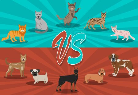 Dogs vs cats concept. Background with cute pets. Fight backgrounds comics style design. Vector illustration.