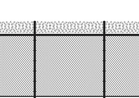 Silhouette metal wire fences with barb backround. Seamless pattern