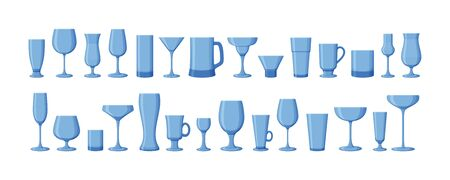 Set of drink glasses for wine, martini, champagne, beer and other