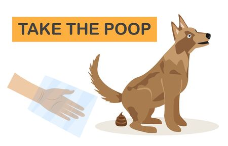 Clean up after your dog. Illustration of a dog owner cleaning the lawn with a scoop and a paper bag Ilustração