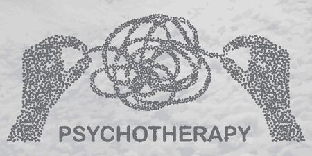 Psychotherapy concept illustration with hands untangling messy snarl knot, illustration with two particle divergent human heads on sky background