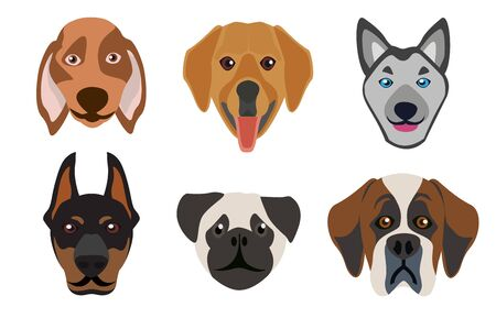 Flat style dog head icons. Cartoon dogs faces set. illustration isolated on white
