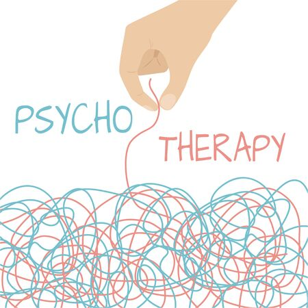 Psychology, human brain, psychoanalysis and psychotherapy, relationship and gender problems, personality and individuality, cerebral neurology, mental health. Psychotherapy concept illustration with hands untangling colored knot, vector illustration