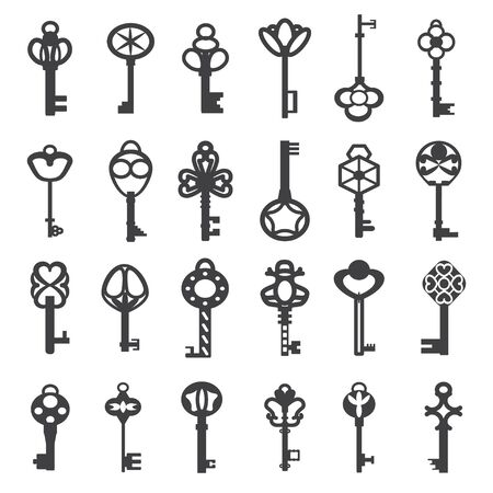 Vintage antique key collection. Set of old victorian keys black silhouettes for doors and cars Vector illustration
