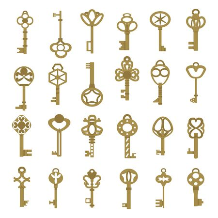 Vintage antique key collection in golden color isolated on white background Ilustración de vector