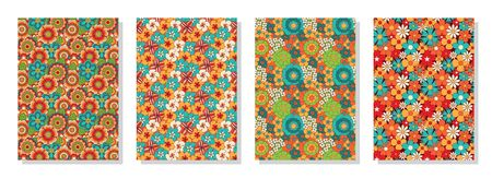 Vintage floral patterns set. Psychedelic or hippie style backgrounds. Abstract flowers and groovy colors. Vector illustration.