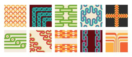 Retro abstract posters set. Backgrounds with round geometric shapes and stripes Stock fotó - 149442824