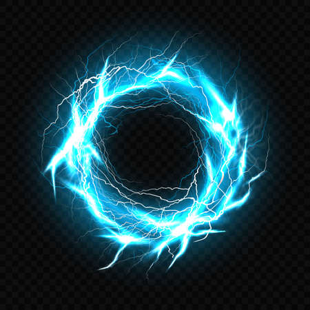 Electric ball, lightning plasma sphere, circle strike impact place in turquoise color with lens flare effect isolated on black background. Powerful electrical discharge Realistic 3d vector illustration Illustration