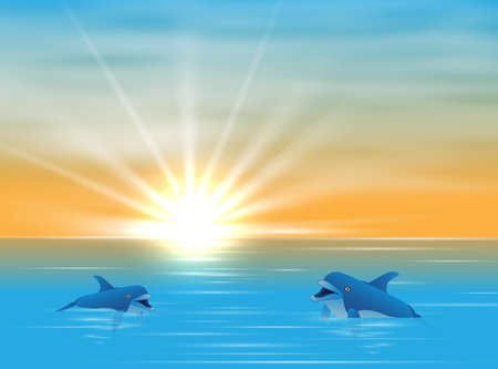 Dolphin in sea realistic and colored composition two dolphins swim in water and sun ryes break through water vector