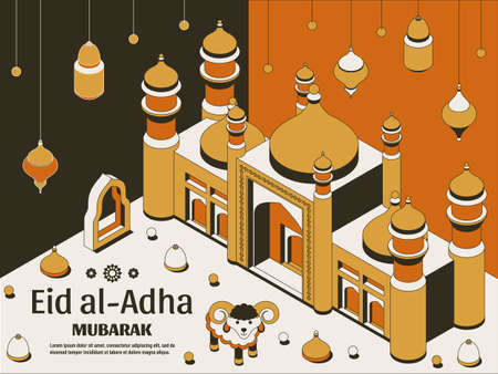 Eid al Adha Background isometric. Islamic Arabic mosque, lanterns and sheep. Greeting card. Festival of the Sacrifice
