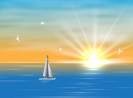 Sailing ship floating in the ocean in the morning. A silhouette of a boat with sails floating on the sea during the day. Realistic picture of the sea and seagulls. Yellow Sun and clouds and sea in background