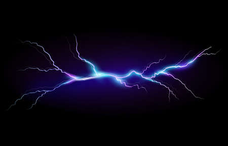 Vector illustration of a realistic style of bright glowing lightning isolated on a dark background, natural light effect. Magic blue thunderstorm lightning element