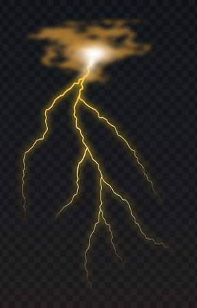 Vector illustration of a realistic style of bright glowing lightning isolated on a dark background, natural light effect. Magic white thunderstorm lightning element