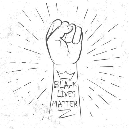 Hand symbol for Anti Racism protest in USA to stop violence to black people. Fight for human right of Black People in U.S. America Ilustración de vector