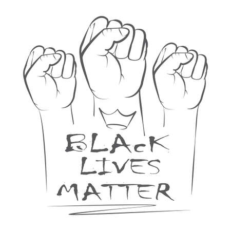 Three hands for Anti Racism protest in USA to stop violence to black people. Fight for human right of Black People in U.S. America Illustration
