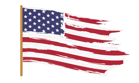 United states of America flag. Stars and Stripes. North America. Vector Illustration on white background