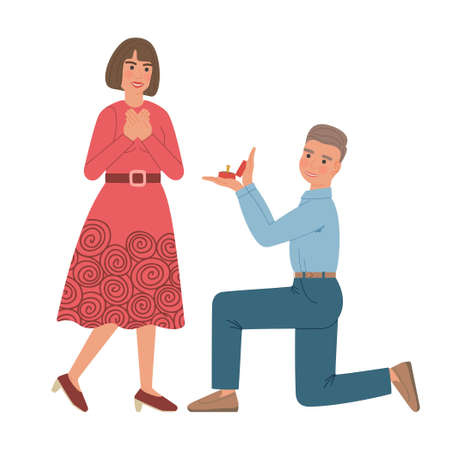 Man makes marriage proposal to woman. Boy kneeling down holds out a box with a wedding ring to a girl. Both are smiling. Vector illustration of cartoon characters isolated on white background.