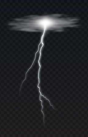 Vector illustration of a realistic style of white glowing lightning isolated on a dark background, natural light effect. Magic white thunderstorm lightning element