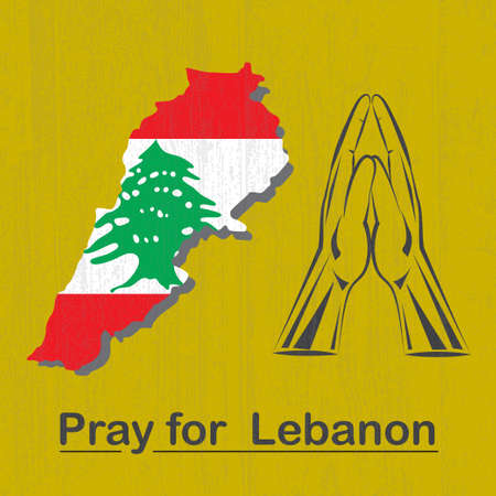 Pray for Lebanon background with hands in praying position and map of Lebanon with flag Vector illustration.