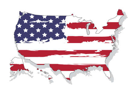 United states of America map with flag. North America. Vector illustration on white background Illustration