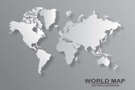 Political world map with shadow isolated on gray background, vector illustration