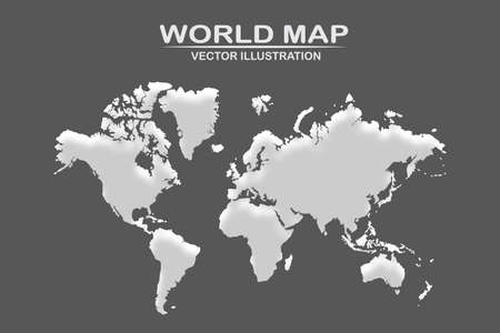 Political world map with shadow isolated on dark background, vector illustration Illustration